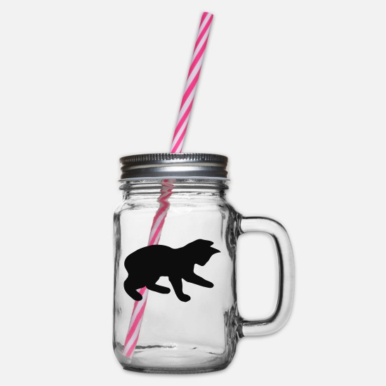 Cat Mugs & Drinkware - Cat - cat - Glass jar with handle and screw cap clear