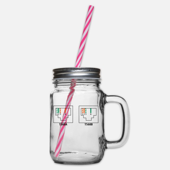 Download Mugs & Drinkware - LAN ethernet cables - Glass jar with handle and screw cap clear