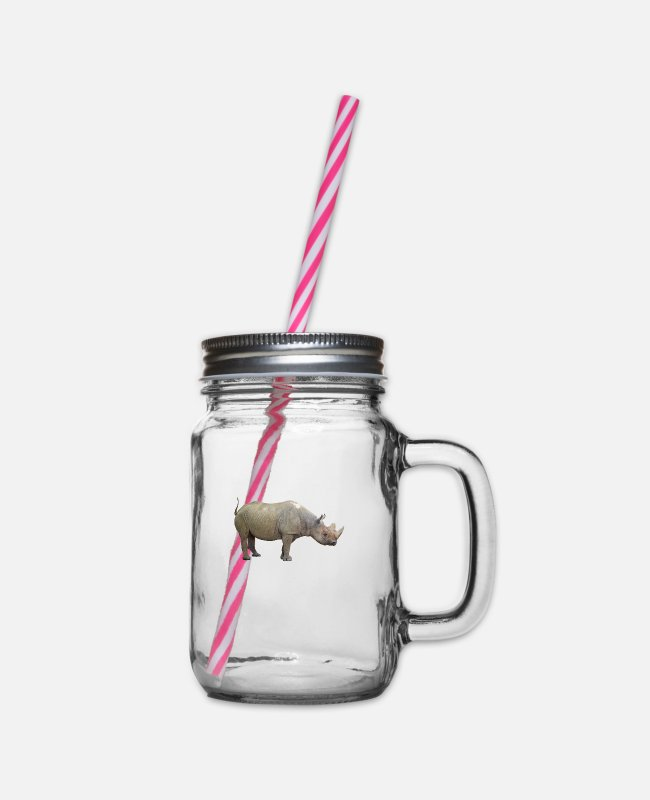 Mammal Mugs & Drinkware - The rhino is critically endangered - Glass jar with handle and screw cap clear