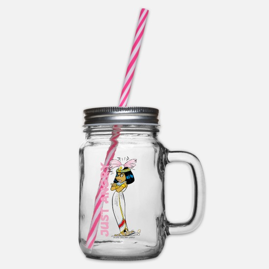 Elixir Mugs & Drinkware - Asterix & Obelix - Kleopatra Just Angry - Glass jar with handle and screw cap clear