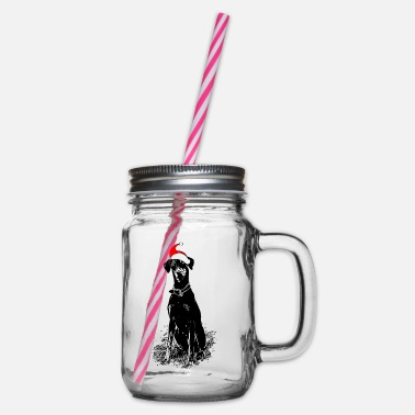 Christmas Doberman dog gift idea - Glass jar with handle and screw cap
