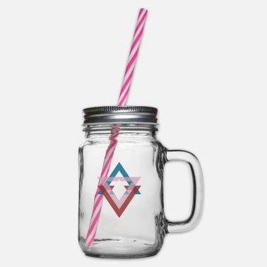 Abstract Triangle graphic ocean breeze - Glass jar with handle and screw cap