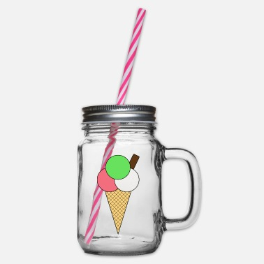 Ice-cream-cone Ice Cream Cone - Glass jar with handle and screw cap