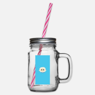 Blue Collar Sweet little sheep with blue collar - case - Glass jar with handle and screw cap