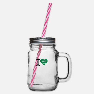 King Salman I Love Saudi Arabia - Glass jar with handle and screw cap