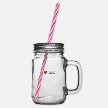 I Love Life I love life - Glass jar with handle and screw cap
