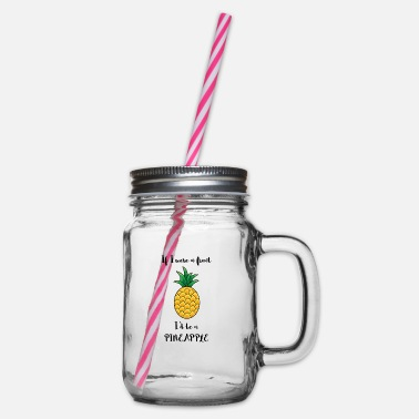 If I were a fruit, I would be a pineapple - Glass jar with handle and screw cap