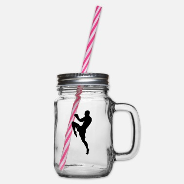 Muay Thai Black - Glass jar with handle and screw cap