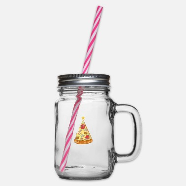 Pizza Christmas tree - Glass jar with handle and screw cap