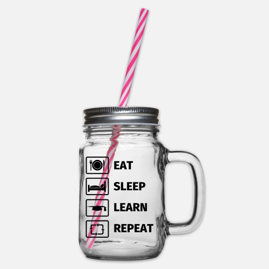 Repeat Mokken & toebehoor - EAT SLEEP LEARN REPEAT - Drinkbeker met handvat en schroefdeksel doorzichtig