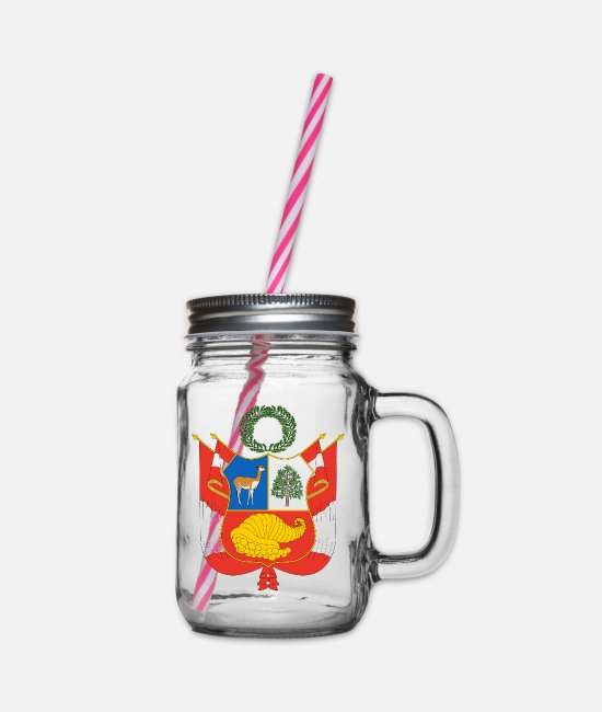 South America Mugs & Drinkware - National Coat of Arms of Peru - Glass jar with handle and screw cap clear