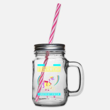 Hlf Fire princess - Unicorn delete car - Glass jar with handle and screw cap