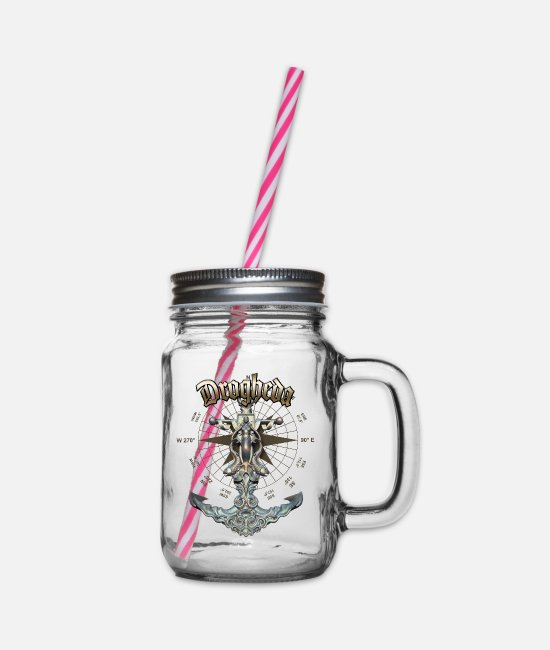 Diver Mugs & Drinkware - Drogheda Anchor Nautical Sailing Boat Summer - Glass jar with handle and screw cap clear