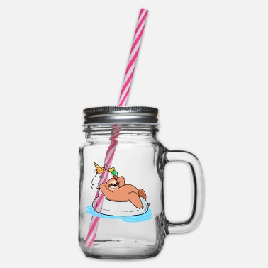 Unicorn sloth unicorn - Glass jar with handle and screw cap