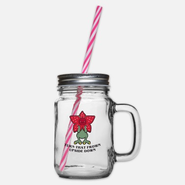 Series Upside Down Series Stranger Gift Funny - Glass jar with handle and screw cap