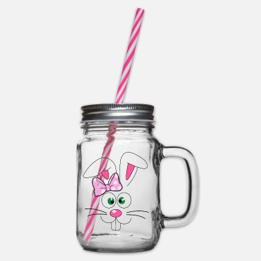 Bunny Easter Bunny Easter Bunny Face - Glass jar with handle and screw cap
