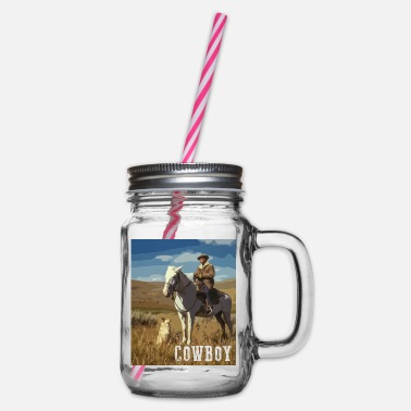 Riding Horse Riding Cowboy With Dog Western Horse Dog - Glass jar with handle and screw cap