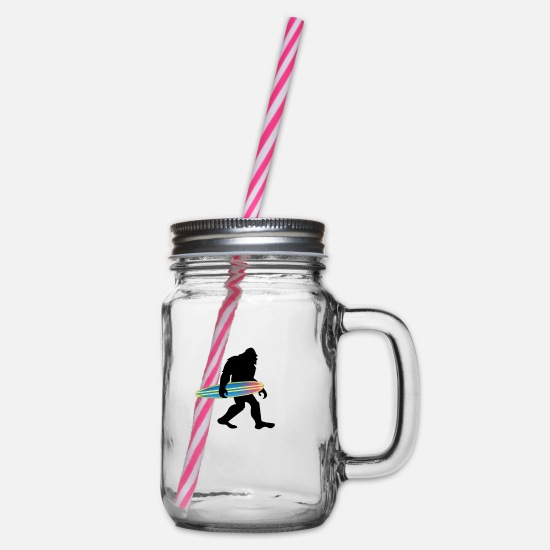 Sasquatch Mugs & Drinkware - Bigfoot - Glass jar with handle and screw cap clear