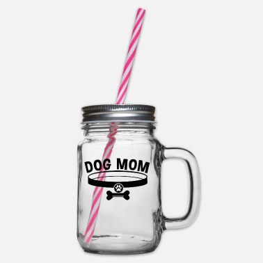 Green Rebel Dog Mom / Dog Mom - Glass jar with handle and screw cap