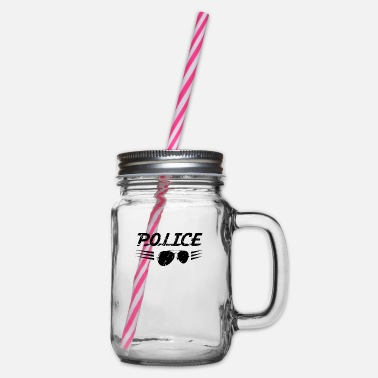 Police Police Police Police Police - Glass jar with handle and screw cap