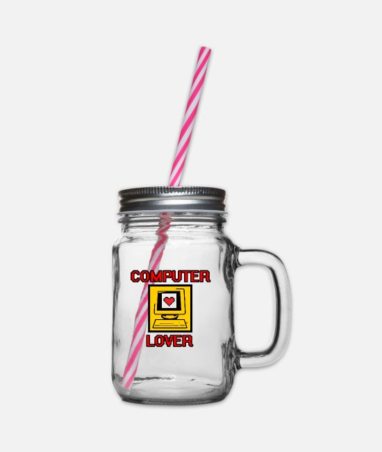 Computers Mugs & Drinkware - computer - Glass jar with handle and screw cap clear