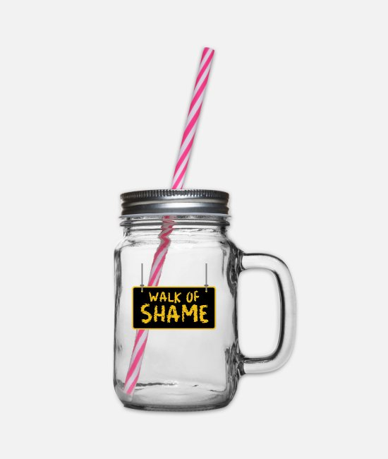 Meme Mugs & Drinkware - Halloween Sexy Walk Of Shame Party Joke Gifts - Glass jar with handle and screw cap clear