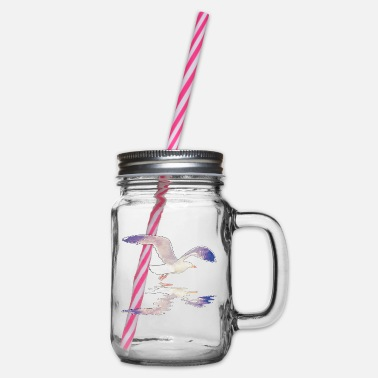 Gull gull - Glass jar with handle and screw cap