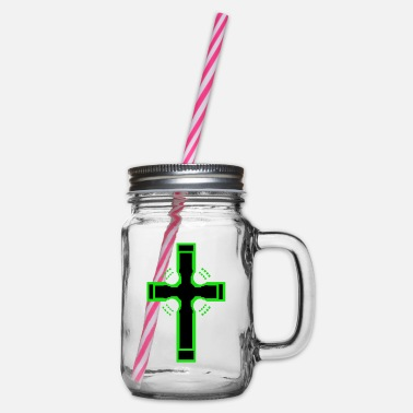 Cross Cross crosses church - Glass jar with handle and screw cap