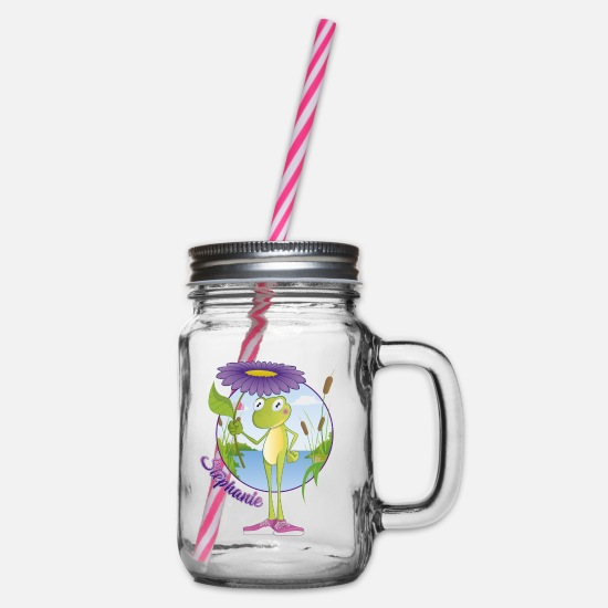 Love Mugs & Drinkware - Stephanie Ranita - Glass jar with handle and screw cap clear