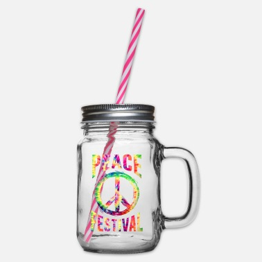 Peace festival - Glass jar with handle and screw cap