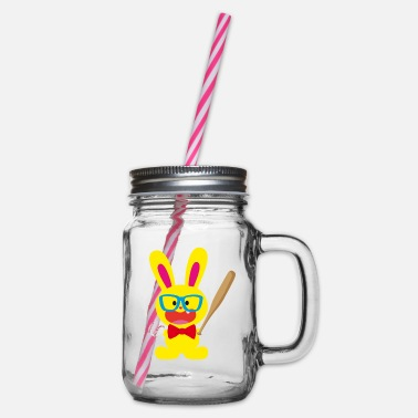 Bunny Tooth A tooth bunny and baseball - Glass jar with handle and screw cap