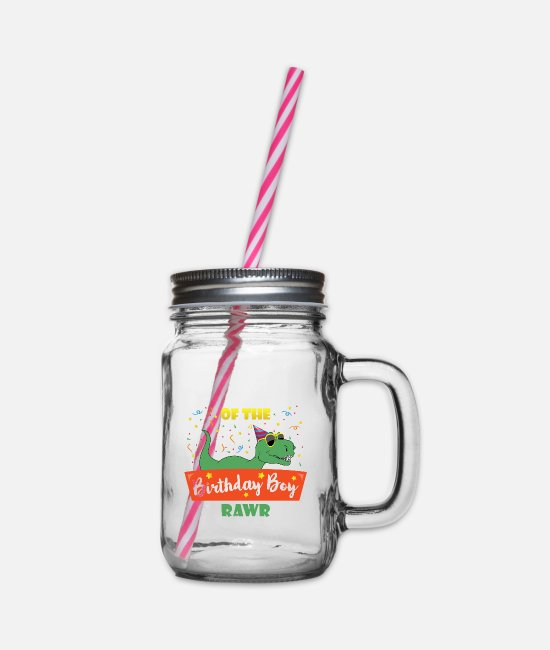 Brother Of Birthday Boy Mugs & Drinkware - Birthday Boy Brother Dinosaur Funny Dinosaurs Brot - Glass jar with handle and screw cap clear