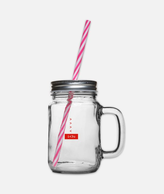 Engineering Mugs & Drinkware - I <3 U - math engineer - Glass jar with handle and screw cap clear