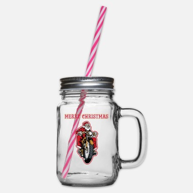 Born And Raised Motorcyclist Santa Santa Claus motorcycle - Glass jar with handle and screw cap