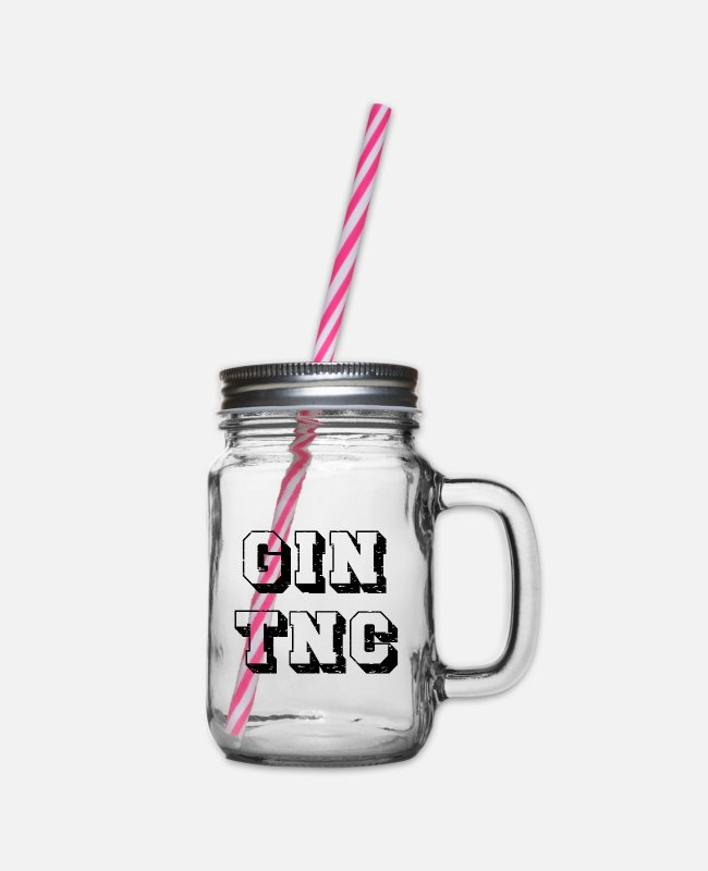 Christmas Mugs & Drinkware - GIN TNC Gin lovers and gin fans motive - Glass jar with handle and screw cap clear