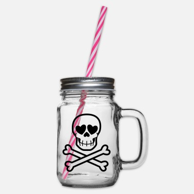 Eros & Thanatos Skull and Crossbones by Cheerful - Glass jar with handle and screw cap
