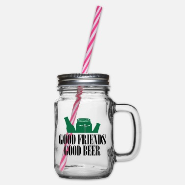 Good Friends In Good friends good beer - Glass jar with handle and screw cap
