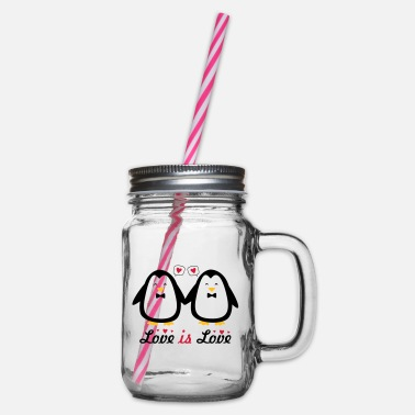 love is love gay pride - Glass jar with handle and screw cap