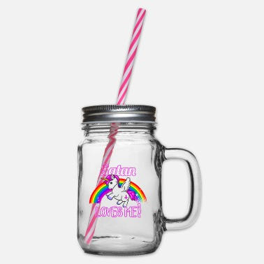 Satan Satan Loves Me - Unicorn Rainbow Religion Cross - Glass jar with handle and screw cap
