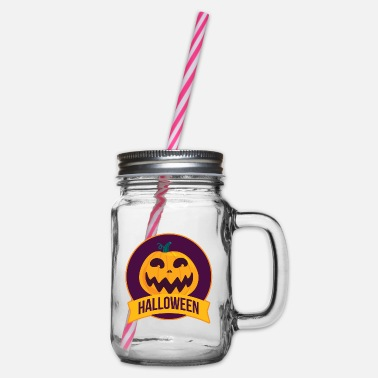 Jack-o-lantern Halloween jack-o-lantern - Glass jar with handle and screw cap