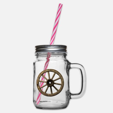 Old wagon wheel - Glass jar with handle and screw cap