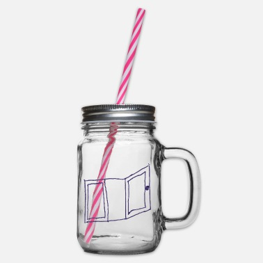 Window open drawing doodle - Glass jar with handle and screw cap