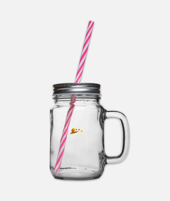 Nature Mugs & Drinkware - autumn - Glass jar with handle and screw cap clear