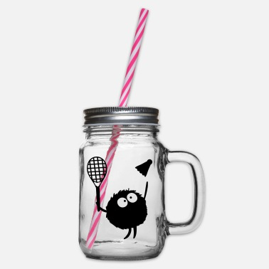 Play Badminton Players cc2 - Glass jar with handle and screw cap