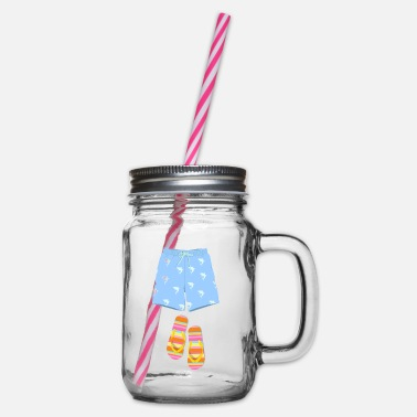 Trunks Flip-Flops Flip Flops Holidays - Glass jar with handle and screw cap