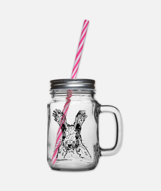 Nature Mugs & Drinkware - squirrel drawing - Glass jar with handle and screw cap clear
