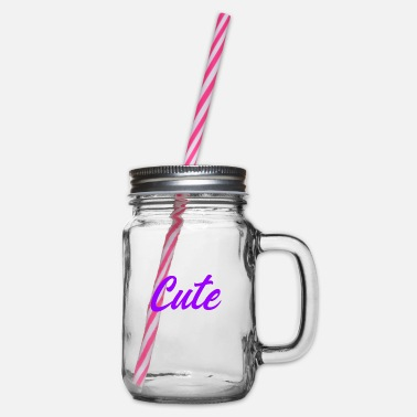 Cute Cute cute - Glass jar with handle and screw cap