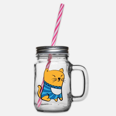 Pullover Cat with Pullover - Glass jar with handle and screw cap