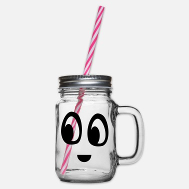 Funny face - Glass jar with handle and screw cap