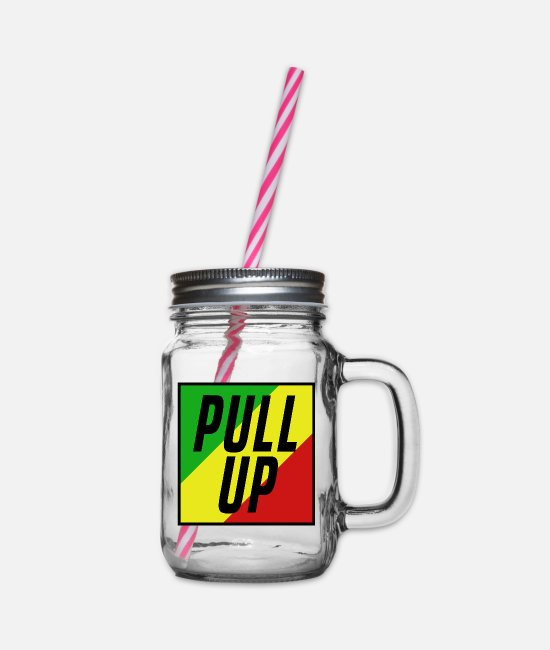 Rasta Mugs & Drinkware - Pull Up Box Rasta 2 - Glass jar with handle and screw cap clear